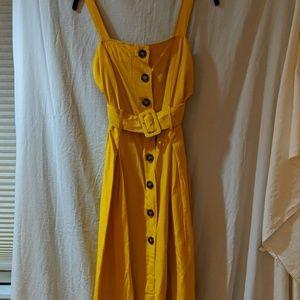 J.O.A. yellow front button w/ belt dress sz S NWT